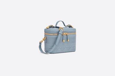 DIOR  Logo 淺藍色羊皮車縫小號化妝盒包 女包 S5488UNTR_M81B  萊克精品代購 210326027