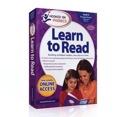 自然拼讀 迷上語音系列 學與讀幼兒園4級英文版Hooked on Phonics Learn to Read Level 4帶DVD光盤 兒童英語拼音