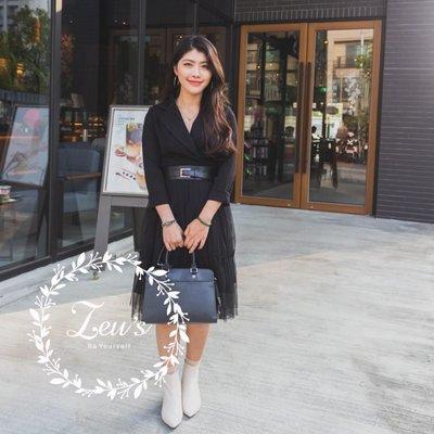 【ZEU'S】韓國新款假兩件拼接西裝紗洋裝『 03119904 』【現+預】C