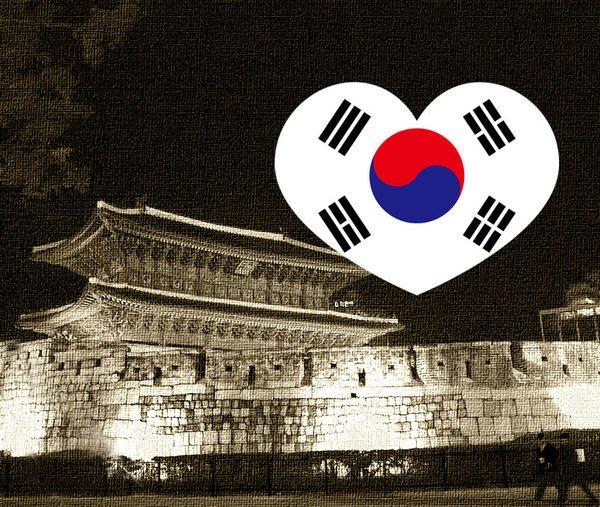 【衝浪小胖】南韓國旗抗UV、防水愛心形登機箱貼紙/South Korea/各國都有販賣和客製