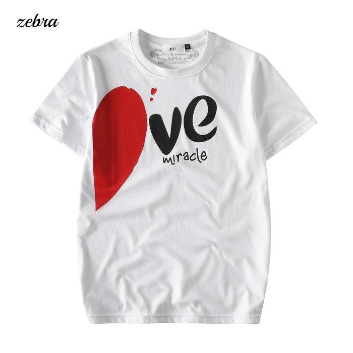 ZEBRA-【TBG9261】寬鬆 黑白 情侶款 VE  心心相印 印花 S/XL休閒短T 特價250元