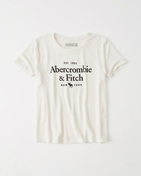 美國百分百【Abercrombie & Fitch】T恤 AF 上衣 短袖 T-shirt 麋鹿 女 白色 H995