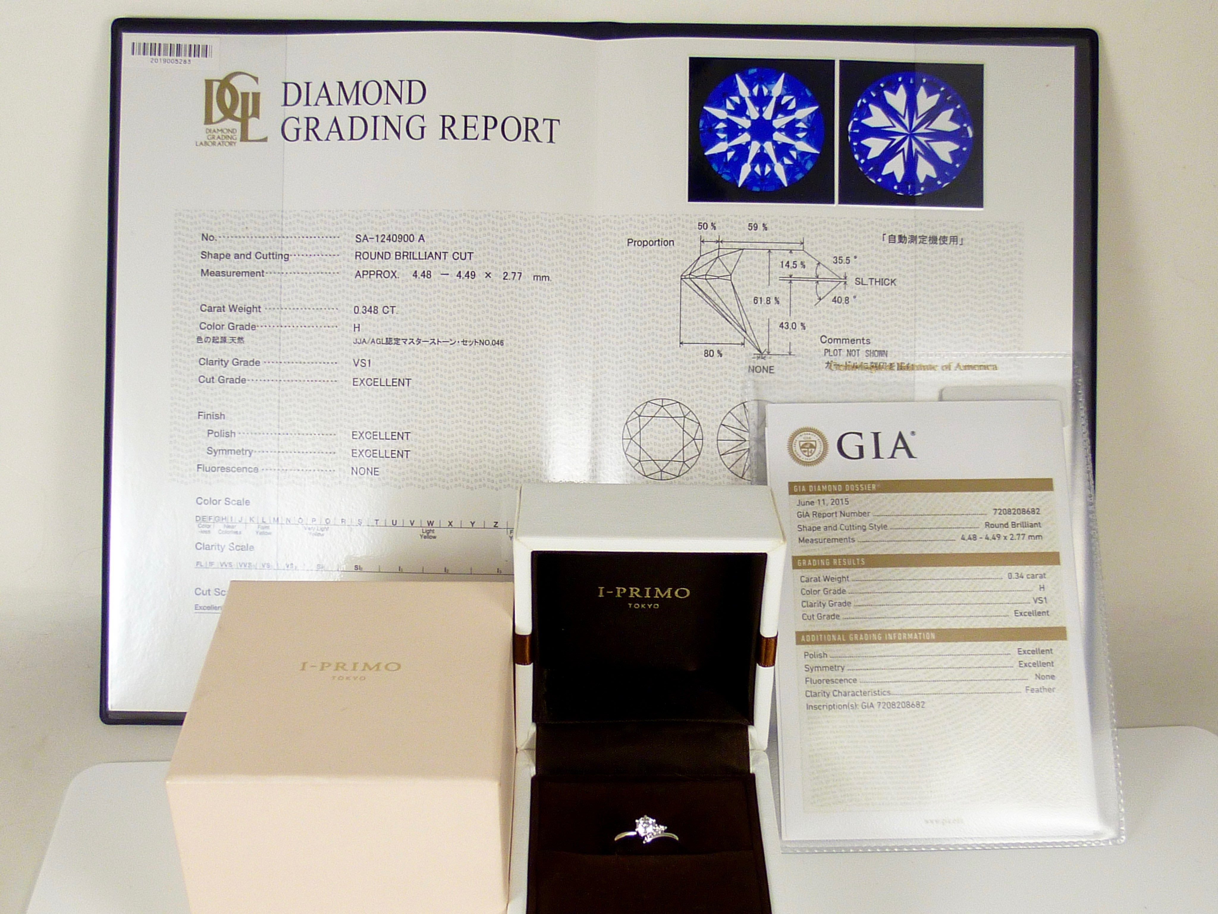 [卡貝拉精品交流] 日本 I-PRIMO GIA30分天然鑽石戒指 PT950 女戒 婚戒 心諾彩鑽 盒單齊全