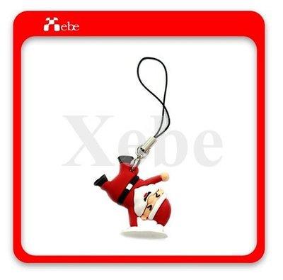 俏皮耶誕老人手機掛繩(倒立) - 聖誕禮品 聖誕交換禮物 各式客製化造型禮贈品 鑰匙圈 防塵塞