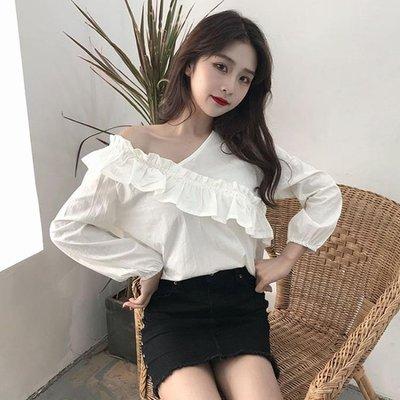 秋裝女裝韓版寬鬆花邊一字肩氣質露肩長袖白襯衫打底衫襯衣上衣潮