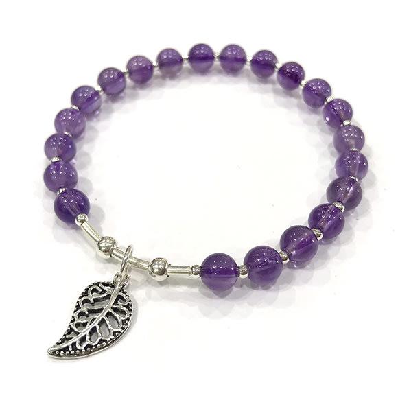 『純天然水晶量販』天然紫水晶 純銀手鍊 約5.5mm 圓珠 氣質款式 智慧 平穩腦波 加強記憶力 情人節 生日 禮物