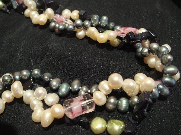 全新從未戴過,天然閃亮珍珠琉璃造型項鍊,低價起標無底價!本商品免運費!