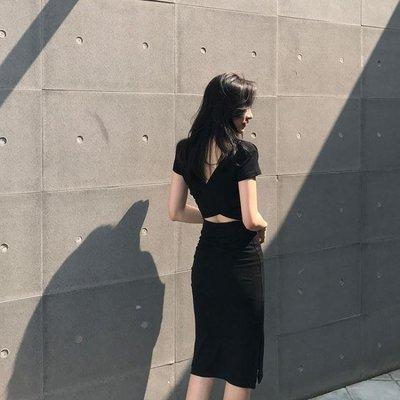 冷淡風裙子復古顯瘦pphome18長裙極簡性感露背洋裝