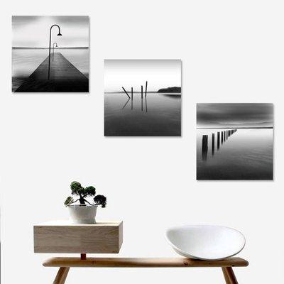 50*50公分 黑白壁畫抽象三聯無框畫現代簡約組合掛畫走廊過道牆