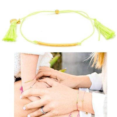 GORJANA 台北ShopSmart直營店  LAGUNA 金色平衡骨 亮淺綠色流蘇手鍊 雙材質設計 可調式手圍