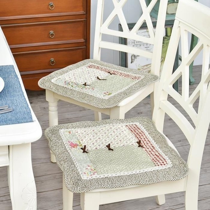 全棉純棉透氣薄餐椅墊子布藝坐墊辦公室電腦椅墊通用帶綁帶防滑