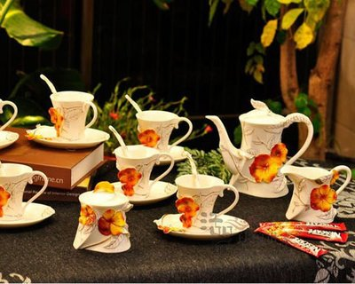 5Cgo【鴿樓】會員優惠 13211455695 堇色年華 新款特價 新骨瓷咖啡杯套裝 新婚喬遷禮品