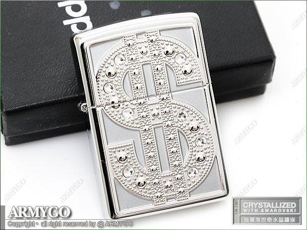 【ARMYGO】ZIPPO原廠打火機-URBAN STYLE系列-No.20904(SWAROVSKI水晶鑲嵌)