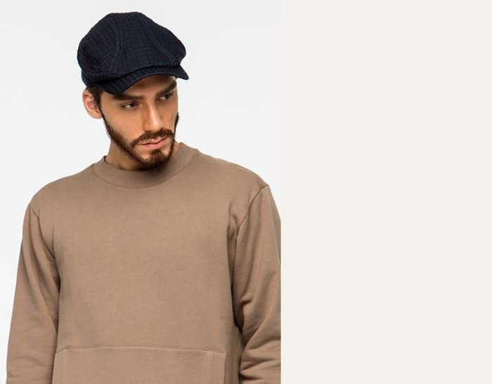 【NoComment】歐美紳士 質感簡約 藍染緹花貝雷帽 軍帽 小偷帽 Visvim ZARA