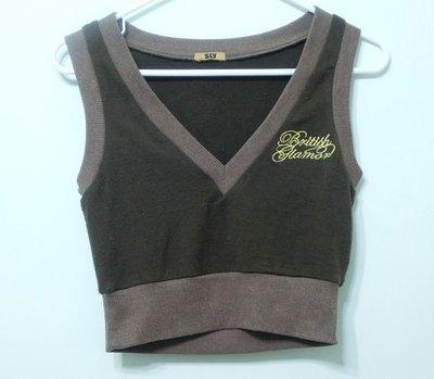 2手 專櫃品牌 SLY 咖啡色背心 短版深V背心