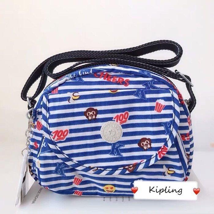 現貨 Kipling 猴子包 K15313 俏皮條紋猴 表情包系列 休閒 多用拉鍊款輕量斜背肩背包 旅遊 限時優惠