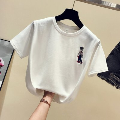 2019夏季新款韓范純棉短袖t恤女 寬鬆韓版卡通刺繡百搭半袖上衣潮
