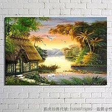 陽光明媚的早晨 客廳現代無框掛 裝飾畫 油畫 山水畫 82