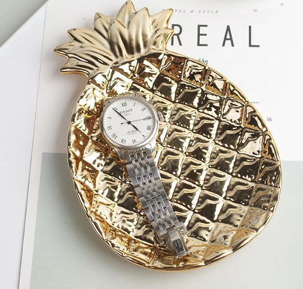 《現貨特價$229》歐美風電鍍陶瓷首飾盤 金色波羅盤子 收納盤 桌面擺件