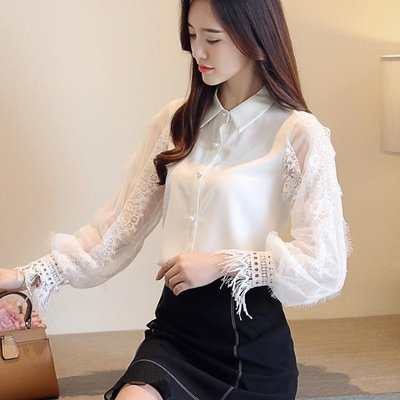 白襯衫女長袖秋季新款燈籠袖蕾絲雪紡衫甜美小清新上衣打底衫