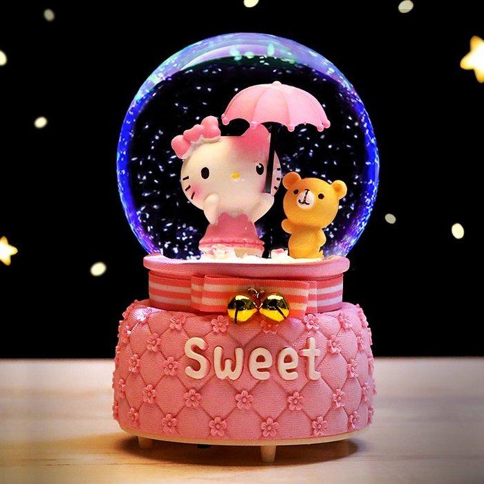 小貓咪水晶球擺件夢幻音樂盒八音盒創意生日禮物女生透明玻璃圓球