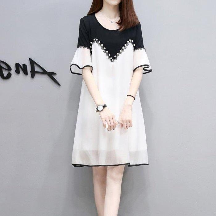 孕婦雪紡連衣裙夏季潮媽時尚款釘珠大碼寬鬆孕婦裝夏裝 GB5398