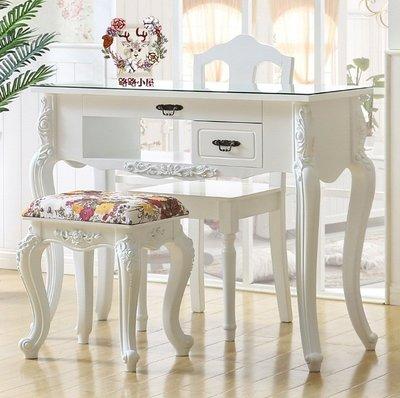 *路路小屋*北歐現代鄉村風白色雙層玻璃面美甲桌浮雕桌美容店美甲店民宿飯店
