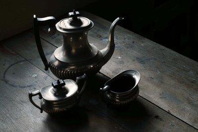 挖你老物《 古董 Leonard Silver Mfg Co 銅鍍銀茶壺組 》醬料壺 糖碗 vintage 古物 佈景