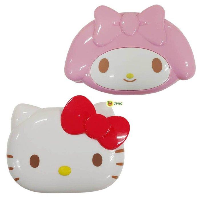 【JPGO】特價-日本進口 三麗鷗 大臉頭型肥皂盒.香皂收納盒~凱蒂貓#416 美樂蒂#423