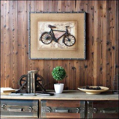 美式工業風 復古麻紗立體鐵件腳踏車/飛...