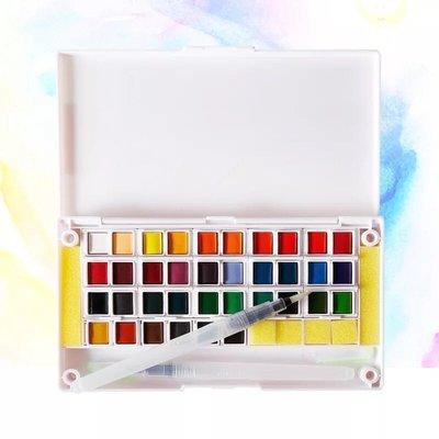 40色固體顏料水彩送水筆塊狀隨身攜帶寫生水彩盤