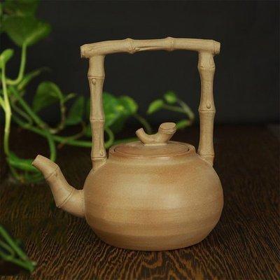 新款潮州朱泥砂铫玉書煨茶铫燒水壺手工制作工夫茶竹節提梁砂挑老岩泥茶壺