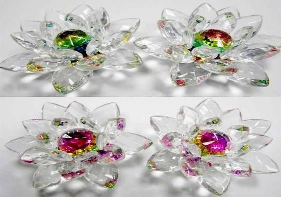 免運 養慧軒 奧地利 七彩水晶蓮花 (一對,每只直徑 8公分),擺在生意場所,好運  連連發  (蓮花諧音)