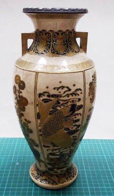 【茶陶古藝 】古董-日本古瓷-明治-薩摩燒四季花卉雙耳瓶