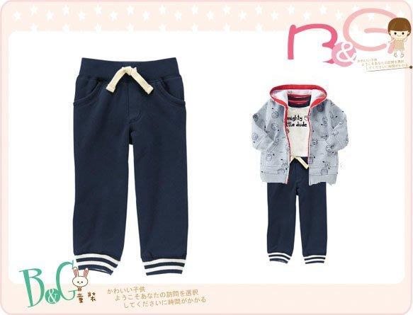 【B& G童裝】正品美國進口GYMBOREE條紋藍色內軟刷毛長褲18-24mos