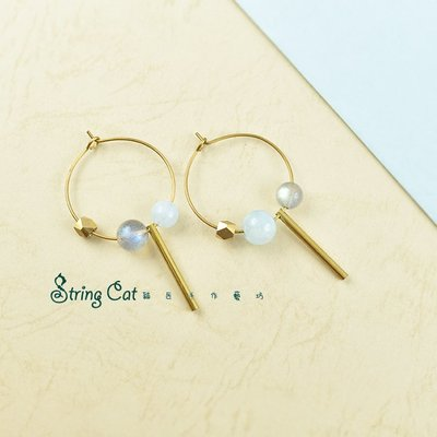 【String Cat】《清揚》原創天然海藍寶耳環 拉長石 黃銅 耳墜 情人 輕珠寶 日韓