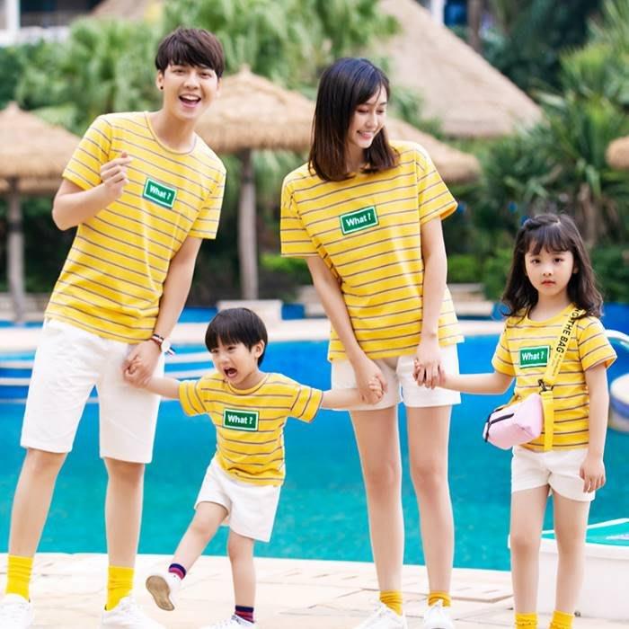 【甜蜜蜜親子童裝】韓版938《黃色WHAT》短袖親子裝♥情侶裝