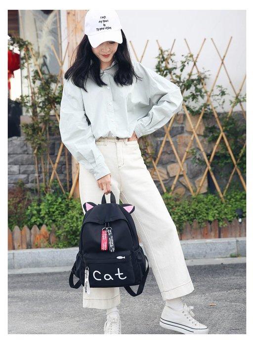 學生書包 雙肩包 後背包 原宿風 可愛貓咪背包