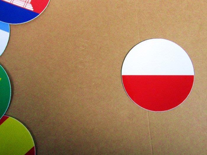 【衝浪小胖】波蘭國旗圓形登機箱貼紙/抗UV防水/Poland/世界多國款可客製