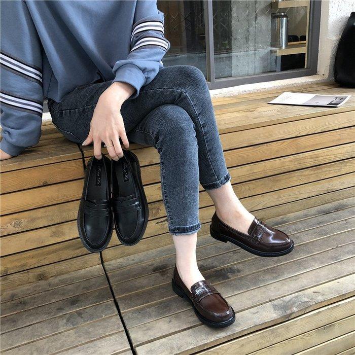 黑色小皮鞋女英倫風復古鞋子新款學生韓版百搭冬平底粗跟單鞋