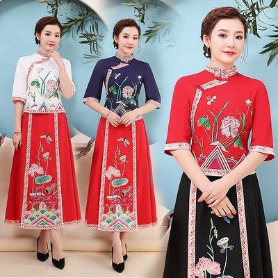 2019春夏季新款荷塘民族風女裝復古盤扣繡花立領上衣中袖T恤