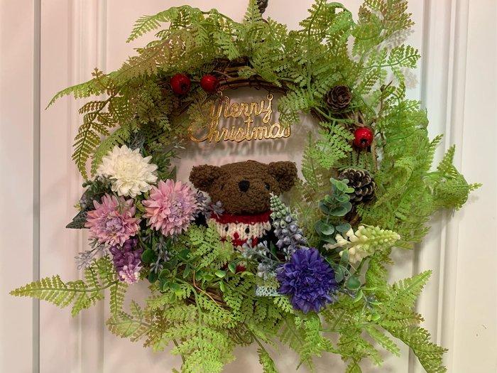 黑頭小羊雜貨小舖*~鄉村風格熊熊手作耶誕花圈掛飾/耶誕熊熊花圈/耶誕佈置/鄉村風格耶誕花圈