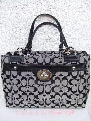 【Chloe & co.】歐美好貨-COACH時尚典黑名媛款‧LOGO花紋 肩/側背/手提包 100%真品