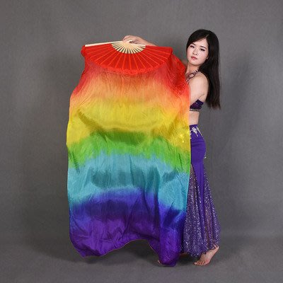 艾蜜莉舞蹈用品*肚皮舞真絲扇/七彩漸層長綢飄扇150cm$400元