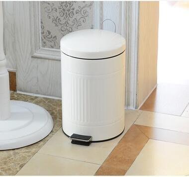 【優上】乳白 9升羅馬紋緩降廚房客廳室內有蓋垃圾桶