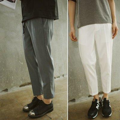 ∵ PRAY FOR FASHION ∴日系簡約基本版型腰頭鬆緊帶設計哈倫褲九分西裝褲