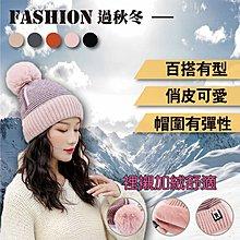 【台灣現貨】韓版拼色R標加絨毛線帽護耳捲邊保暖帽(M9444)