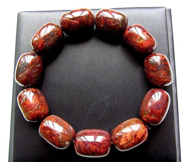 超大特色珍藏極美天然納米比亞紅彼得石路路通桶珠手鍊手鏈手珠14.5*20mm/81g水晶油畫珠寶玉石寶石首飾飾品