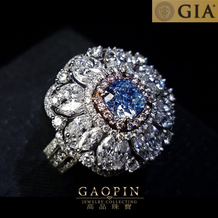 【高品珠寶】超頂級收藏級!GIA 1.02克拉藍鑽 藍彩鑽《花瓣》枕型配鑲18k金鑽石華麗兩用戒指(已售出訂製款)