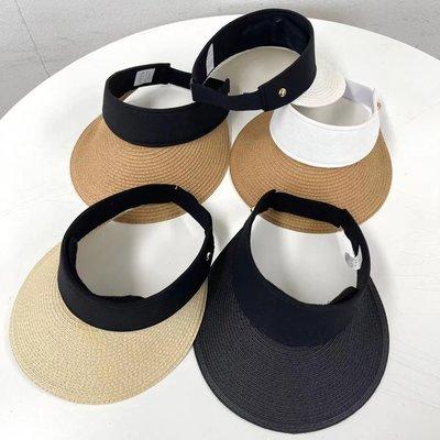 正韓夏季新款編織空頂帽女氣質優雅出游東大門代購海灘度假遮陽帽
